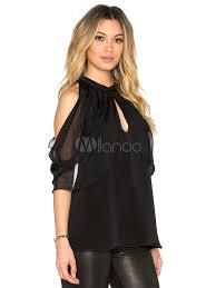 shoulder cut out blouse black blouses 2018 sleeve pleated cold shoulder cut