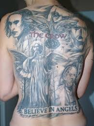 the crow tattoo and lettering