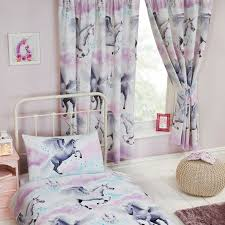 Purple Bedroom Curtains Stardust Unicorn Purple Teal Curtains Duvet Cover Set Single