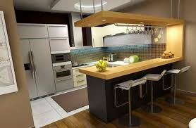 Wonderful Kitchens Tiny Modern Kitchen With Wood Bar Table And White Bars Design