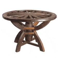 Wagon Wheel Coffee Table by Relcaimed Teak Wood Wagon Wheel Table