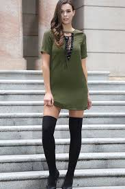 army green lace up v neck short sleeve t shirt dress casual