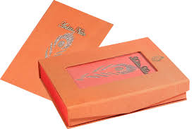 wedding card box traditional mor pankh design coral