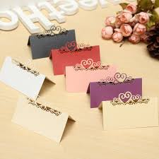 10pcs laser cut double heart table name place cards white ivory
