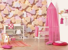 bedroom white cradler with pink canopy decoration in baby room