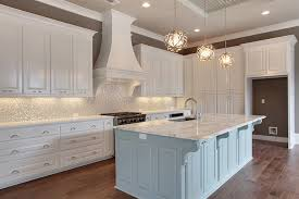 tiled kitchen island white and silver iridescent tile backsplash