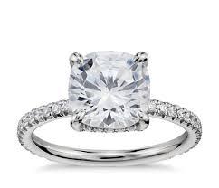 engagement rings cushion cut blue nile studio cushion cut pavé crown diamond