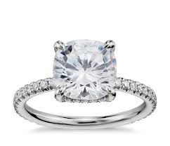 cushion engagement rings blue nile studio cushion cut pavé crown diamond