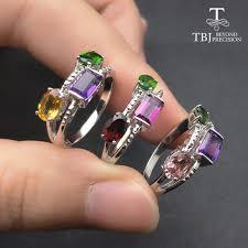 color gemstone rings images Tbj 2017 new design 3 color natural gemstone ring in 925 jpg