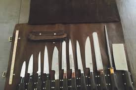 kitchen knife collection chef knife roll leatherworker steven goodson 832 428 2389