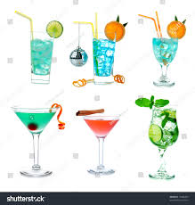martini tropical cocktails collage collection blue hawaiian lagoon stock photo