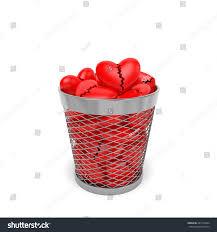 broken hearts trash bin wastebasket stock illustration