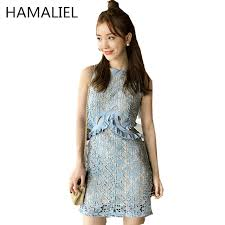light blue tank dress hamaliel midriff hollow waist brand summer dress 2018 lace star