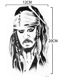 pirates of the caribbean tattoo sticker captain jack sparrow fake