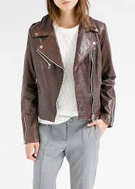 brown leather motorcycle jacket mango leather biker jacket in brown lyst