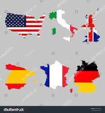 France Germany Map by Set Map Flags Usa Italy United Stock Vector 568759447 Shutterstock