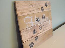 personalized cats paws custom pet name cat reclaimed pallet wood