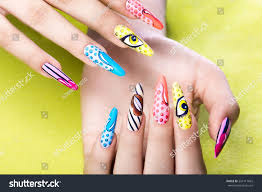 long beautiful manicure popart style on stock photo 524111665