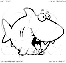 cartoon clipart of a black and white drooling hungry shark
