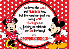 Mickey Mouse Invitation Cards Printable Custom Photo Invitations Mickey U0026 Minnie Mouse Birthday Thank
