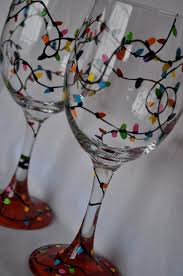 diy idea hand painted christmas lights wine glass pair by