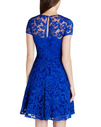 ted baker caree sheer floral overlay dress in blue lyst