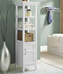 Bathroom Wicker Shelves by Bathroom White Free Standing Bathroom Storage Tower With Cabinet