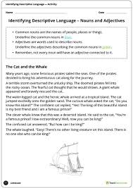 adjectives and nouns worksheet identifying descriptive language worksheets nouns adjectives