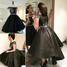 2016 new high low prom dresses appliqued jewel cap sleeves custom