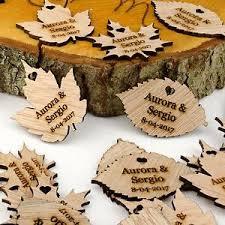 vintage wedding favors personalised wooden leaf table decorations rustic or vintage