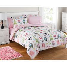 girls softball bedding mainstays kids paris bed in a bag bedding set walmart com