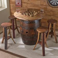 Outdoor Checker Table Made From Whiskey Barrel Table With 4 Stools Wine Enthusiast