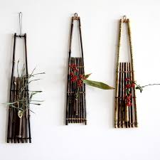 wall mounted bamboo flower basket floral wall hanging pendants