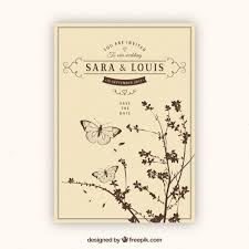 Vintage Wedding Invites Vintage Wedding Invitation With Plants And Butterflies Vector
