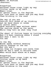 Maps Lyrics Wheel Of Fortune By The Byrds Lyrics With Pdf