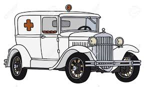 hand drawing of a vintage ambulance car not a real type royalty
