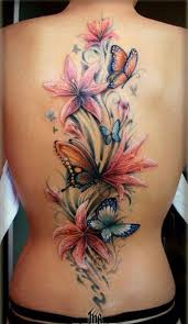 beautiful butterfly with flowers for on back