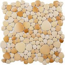 Beige Porcelain Tile Sheets Glazed Pebbles Mosaic Wall Tiles Cheap - Pebble backsplash