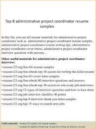 Project Coordinator Resume Sample Administrative Coordinator Resume Business Proposal Templated