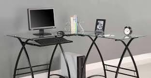 techni mobili black glass corner desk important glass desk table tags glass and metal computer desk