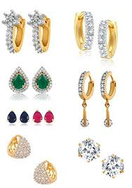 diamond ear rings youbella combo of trendy american diamond earrings for women