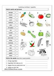 esl english vocabulary printable worksheets vegetables food
