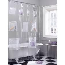 Shower Curtain Clear Maytex Mesh Pockets Peva Storage Shower Curtain Clear Walmart