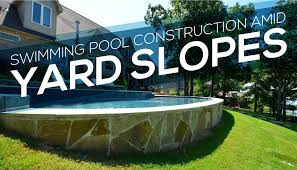 Retaining Wall Ideas For Sloped Backyard Swimming Pool Construction Amid Yard Slopes