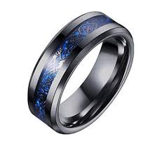 mens wedding bands black celtic men s black blue ring inlay 8mm titanium black mens