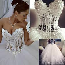 discount luxury wedding dresses 2015 with lace pearl unique