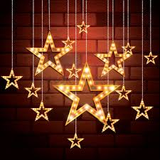 hanging christmas lights on brick walls stars hanging on bricks wall background vector image 1807441