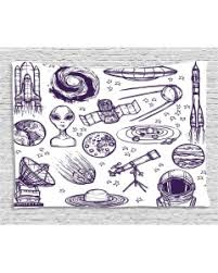 white tablecloth sketch alien planet art printed table cover