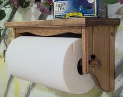 Wooden Toilet Paper Roller Paper Towel Holder Wall Under Cabinet Red Mahagony