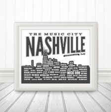 Downtown Nashville Map Nashville Neighborhood Poster Nashville Tennessee Nashville Art